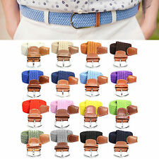 Mens Womens Elastic Stretch Belt Wide Braided Cotton Casual Adjustable Waistband