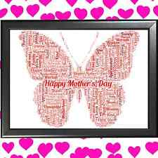 PERSONALISED WORD ART - BUTTERFLY - The perfect birthday gift for him or her