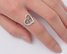 Mom Sign in Heart Rings Sterling Silver 925 Plain Jewelry Gift Size Selectable