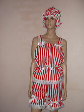 RED WHITE STRIPE VICTORIAN EDWARDIAN STYLE SWIM COSTUME BLOOMERS TOP