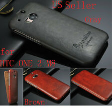New Retro Luxury Ultra-thin Flip PU Leather Case Protect Cover For HTC ONE 2 M8