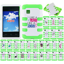 For LG 840G Case HYBRID Tuff Rubber Hard Cover White / Neon Green Dream Catcher