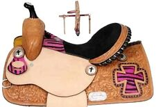 Pink Zebra-Cross Barrel Saddle Package 13-14-15-16 inch-Tack-Free Shipping-nr