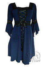 Plus Size Black and Midnight Blue Gothic Renaissance Corset Dress 1X 2X 3X 4X 5X