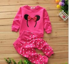 Baby girl kids bow carton autumn clothes coat dots pants 2 pcs Sweater set 0-24M