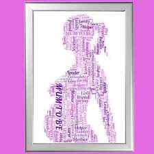 PERSONALISED WORD ART NEW BABY PRESENT PREGNANT GIFT FOR MUM NEW BORN NURSERY
