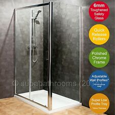 Chrome Sliding 6mm Shower Door Enclosure Cubicle Stone Resin Tray