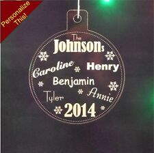 "3 inch Personalized Family Names Christmas Ornament Custom 1/4"" Engraved Acrylic"