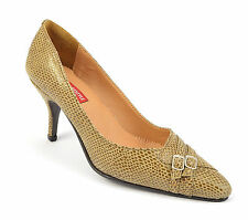 Womens Ladies Pointed Court Shoes Tan Beige Pumps Buckle Inch Heel Size4 5 6 7 8