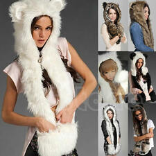 Warm Winter Faux Animal Fur Hat Fluffy Plush Cap Dint Hood Scarf Shawl Glove
