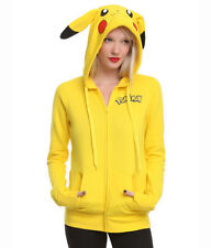 New Japan Pokemon Pikachu Ears Face Tail Zip Hoody Sweatshirt Hoodie Costume
