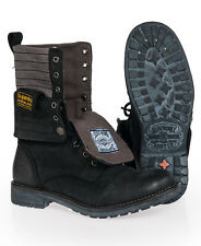 New Mens Superdry Entry Panner Boots Black Crazy Horse