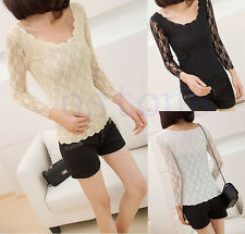 Fashion Womens Nice Slim Fit Long Sleeve Lace Wavy Bottoming T-Shirt Blouse Tops