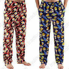 Mens Printed Fleece Lounge Pants Beer Breakfast Pyjama Bottoms Trouser Pants