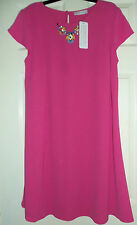 Ladies Bright Pink Maternity Dress with Detachable Neck detail
