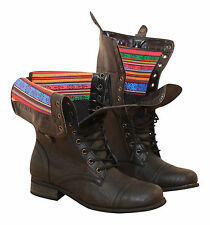 Black Flat Military Combat Lace Up Zip Mid Calf Ankle Boots Biker Pit Victorian