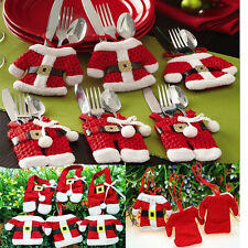 2/6Pcs Christmas Jacket Pants Happy Santa Silverware Holders Pockets Dinner