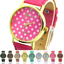 Geneva Dot Print Leatheroid Analog Quartz Womens Girl's Classic Wrist Watches