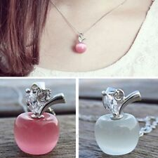 Charm Crystal Rhinestone Apple Pattern Necklace Pendant Chic Jewelry Collares