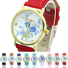 Unique Blue Flower Print dial Faux Leather Geneva Watch Dress Quartz Watches