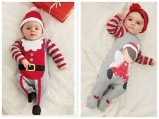 Baby Girl Kids Boy Children Xmas Christmas Romper + Hat Outfits set Gift Prop