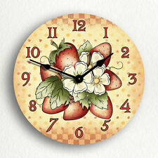 """Strawberries Traditional County Kitchen 6""""-10""""-12"""" Silent Wall Clock"""