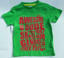 Boys Green Cotton T Shirt with Red 'Awesome Dude Skate Jam 1987' F&F