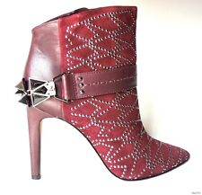 new SAM EDELMAN burgundy suede JEWELED spiked straps ANKLE BOOTS