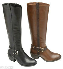 NEW WOMENS MANFIELD BLACK BROWN FAUX LEATHER BUCKLE LADIES CUBAN MID HEEL BOOTS