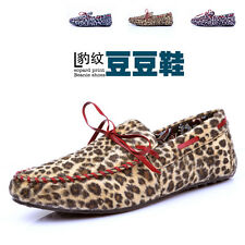 Leopard print Comfy Leather Casual Slip On Loafer Shoes Moccasins Driving Shoes