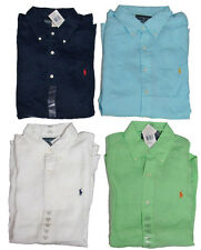 Polo Ralph Lauren Mens Custom Fit Linen Button Solid Short Sleeve Pony Shirt