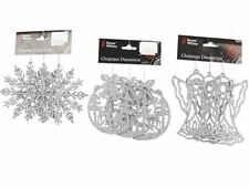 3 PC Silver Deluxe Glitter Snowflake/Angel/Bell Christmas Xmas Tree Decorations