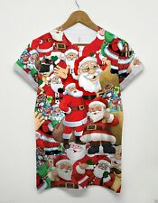 Santa All Over T Shirt Christmas Festive Present Party Holidays Elf Reindeer Top