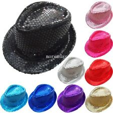 Child Men Women Fedora Trilby Sequin Hat Gangster Cap Costume Dance Party Show
