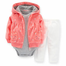 Carters Baby Girls Cardigan Set 3 6 9 12 18 24 Months Outfit Clothes 100% cotton