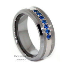 Thin Blue Line Mens 7 Stone Blue CZ Stones Tungsten Carbide Wedding Band Ring
