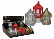 """Christmas Decoration Xmas Mini Lantern with Hanging Loop 4.5"""" Red/Silver/Gold"""