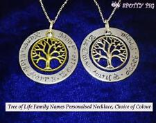 Personalised Family Names Tree of Life Necklace 925 Sterling Silver Chain, Mum
