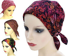 PADDED COTTON HEAD SCARVES. Warm shades.  Headwear for Cancer, Chemo, Hairloss 1