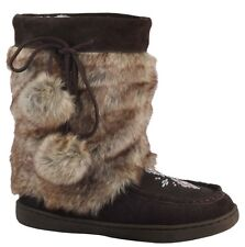 BRAND NEW WOMENS SHORTER MUKLUK BOOTS, REAL LEATHER SUEDE -  ALL SIZES AVAILABLE