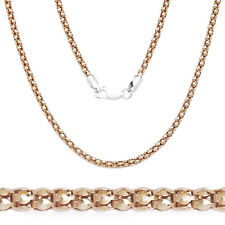 2.3mm 925 Italy Sterling Silver & 14k Rose Gold Popcorn Link Chain Pave Necklace
