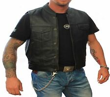 Mens Black Leather Motorcycle Biker Vest.
