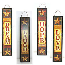 """RUSTIC COUNTRY WALL PLAQUES LOVE DREAM HOPE LAUGH 10"""" TALL HANGING"""