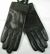 RALPH LAUREN WOMENS  BLACK LEATHER GLOVES -NWT- RHINESTONE TRIM-LINED