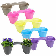 2 Flower Plant Pots Wall Mounted Holder Hanger Garden Feature Decoration Balcony