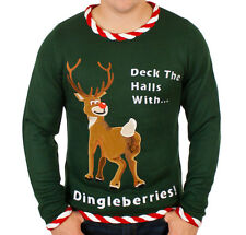 Reindeer Dingleberries Ugly Tacky Christmas Sweater - Funny Holiday Sweater