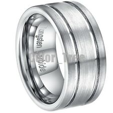 10mm Tungsten Carbide Mens Brushed 2 Grooved Silver Wedding Band Ring Free Ship