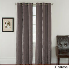 Kirby Quilted Geometric Blackout Grommet-top Curtain Panel Pair