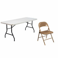 National Public Seating Lightweight 6-inch Plastic Folding Table and Four Steel