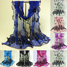 Women Lady Fashionable Silk Long Soft Peacock Scarf Wrap Shawl Stole 8 Color 1pc